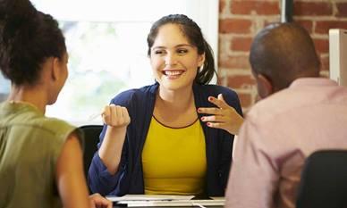 Woman hosting meeting
