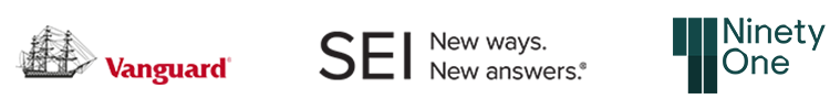 Vanguard, SEI and NinetyOne logos