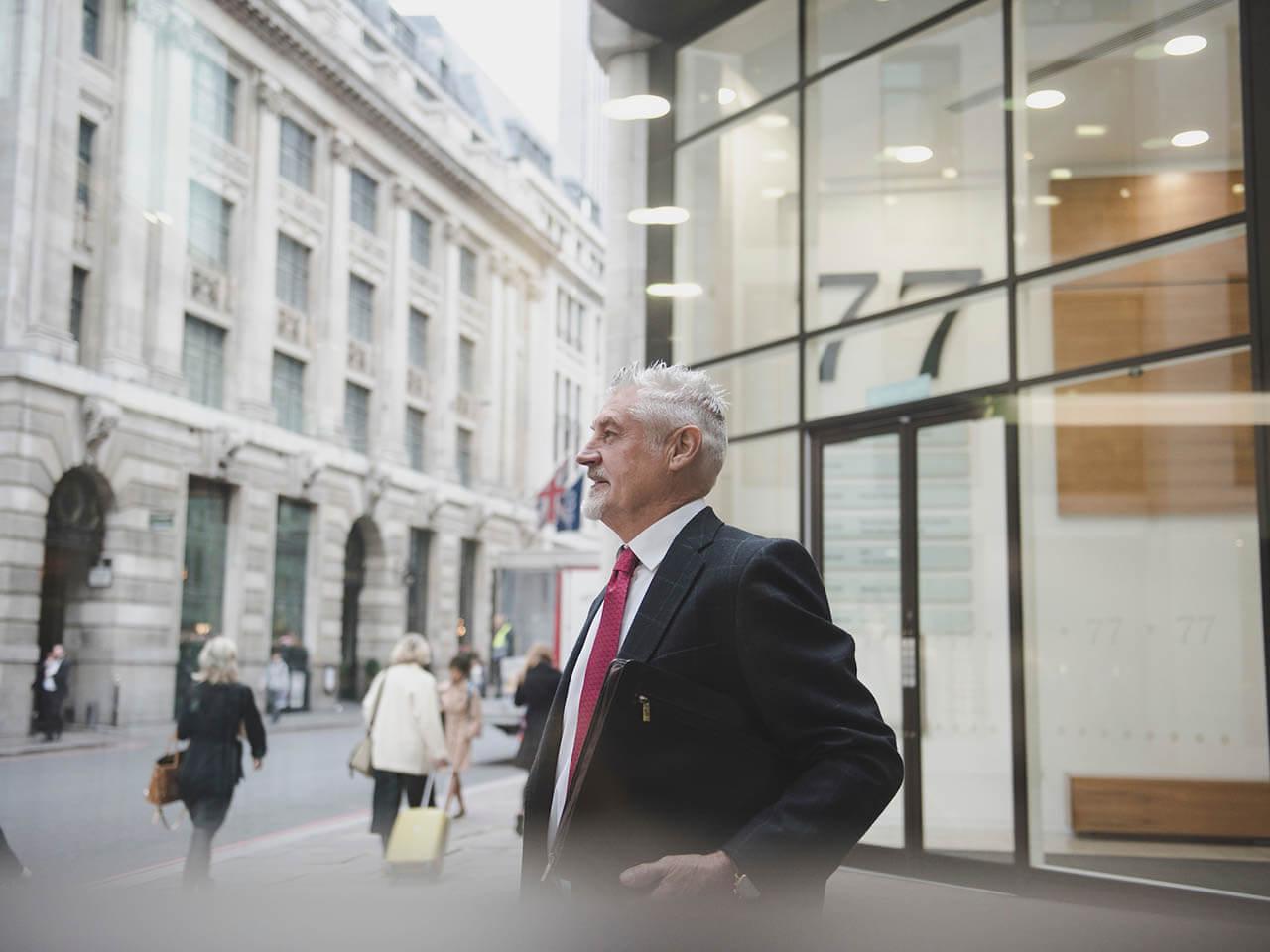 Man outside office
