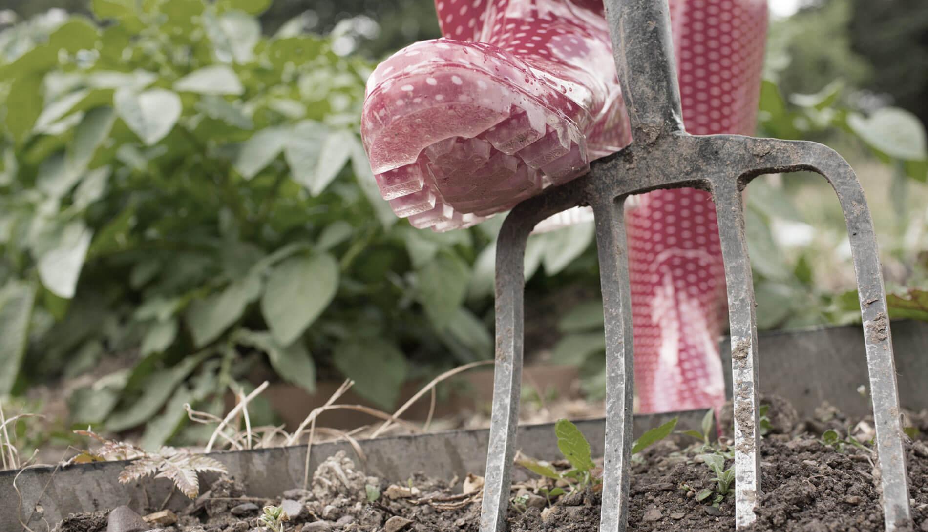 Close-up of gardening pitchfork