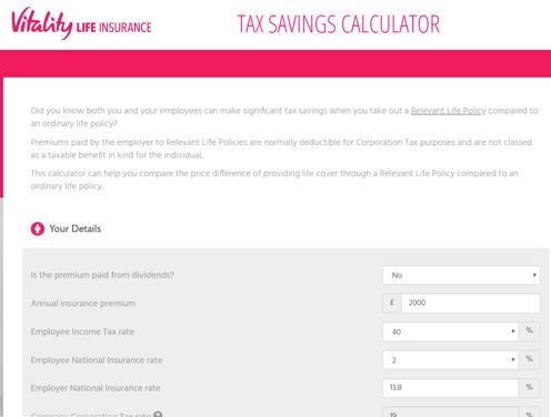 Tax Savings Calculator Screenshot